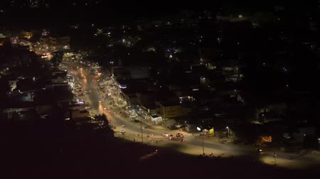 bangalore : Urban Of India: Time lapse of lite Moving  traffic during night time (Aerial View)