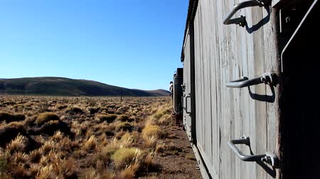 lokomotif : Travel on the train Trochita in Patagonia, Esquel, Argentina Stok Video