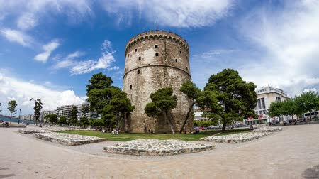 makedonia : Time lapse video of White Tower of Thessaloniki, Greece - Fisheye Lens was used