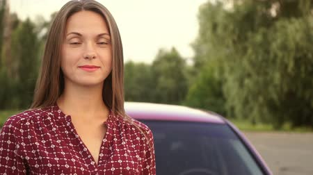 pin up : A sweet girl near the car,full hd video