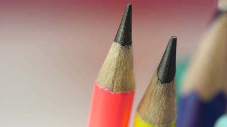 grafit : Variety of sharpened color pencils macro view, stationery collection