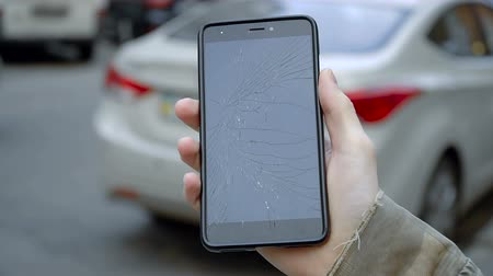 Smashed glass of mobile phone