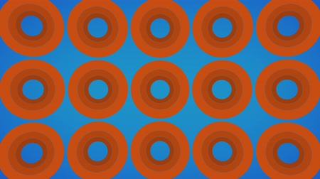 Endlessly loading abstract orange rings on a blue background Stock Footage
