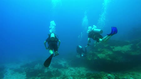 Three divers swim ahead over the sea floor in the Seychelles