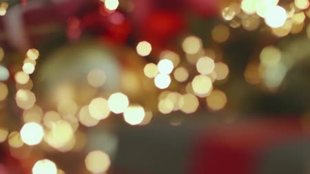 Beautiful Christmas bokeh and decorations Stock Footage