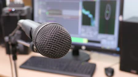 Microphone on the background of the computer monitor. Home recording Studio. Close-up. The focus in the foreground. Blurred background. Software for recording and editing sounds. 4K, UHD, Ultra HD