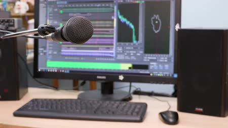 głośniki : Microphone on the background of the computer monitor. Home recording Studio. Close-up. The focus in the foreground. Blurred background. Software for recording and editing sounds. 4K, UHD, Ultra HD