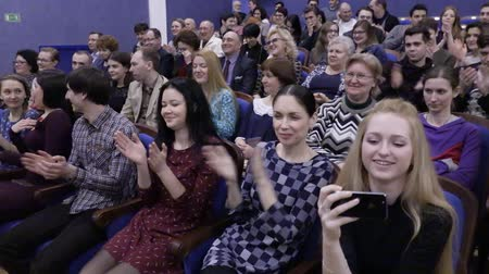 The audience is applauded in the auditorium. Theater and concert Agency. Russia, Saratov, March 27, 2017