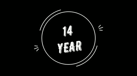 Video greeting with 14 year. Made in retro style. Can be used to congratulate people, animals, companies and significant dates.