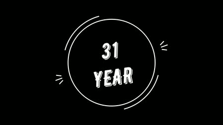 embléma : Video greeting with 31 year. Made in retro style. Can be used to congratulate people, animals, companies and significant dates. Stock mozgókép