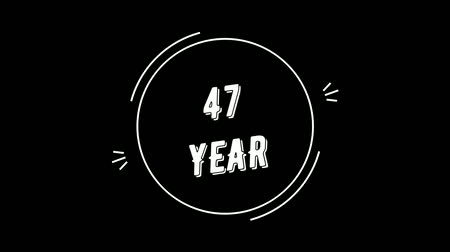 Video greeting with 47 year. Made in retro style. Can be used to congratulate people, animals, companies and significant dates. Wideo