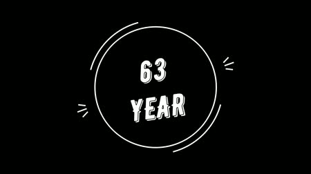 Video greeting with 63 year. Made in retro style. Can be used to congratulate people, animals, companies and significant dates.