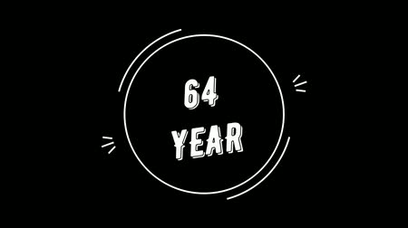 Video greeting with 64 year. Made in retro style. Can be used to congratulate people, animals, companies and significant dates. Wideo