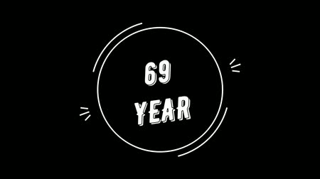 Video greeting with 69 year. Made in retro style. Can be used to congratulate people, animals, companies and significant dates. Wideo