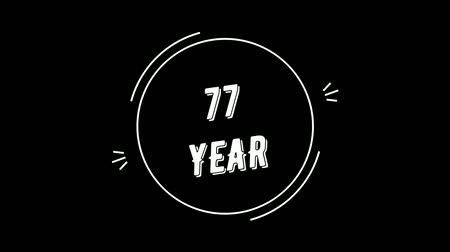 Video greeting with 77 year. Made in retro style. Can be used to congratulate people, animals, companies and significant dates. Wideo