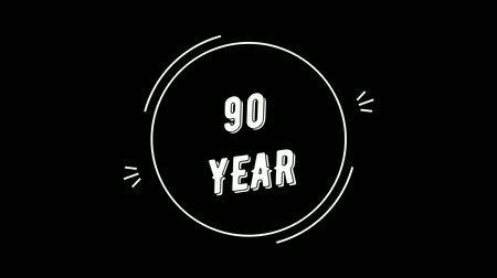 Video greeting with 90 year. Made in retro style. Can be used to congratulate people, animals, companies and significant dates.