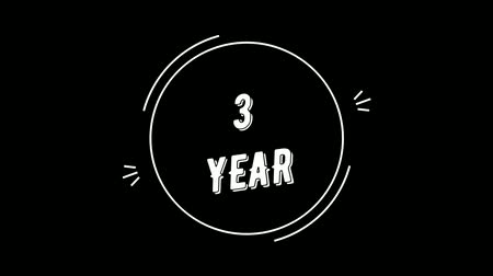 Video greeting with 3 year. Made in retro style. Can be used to congratulate people, animals, companies and significant dates. Wideo