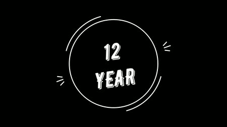Video greeting with 12 year. Made in retro style. Can be used to congratulate people, animals, companies and significant dates.