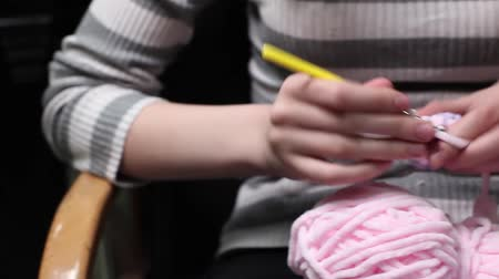meada : Female hands sew a teddy bear. Creating soft handmade toys. Video footage