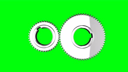 cogwheels : Silver gears loop rotate on green chromakey background