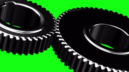 pinion : Metal gears loop rotate on green chromakey background Stock Footage