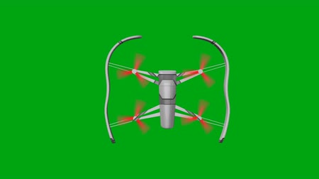 pelúcia : Drone with Rotating Rotors on a Green Background Flies to the Left Side. Top view. 3d animation, 4K Stock Footage