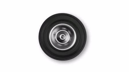 tread : Loop video of rotating car wheel on white background Stock Footage