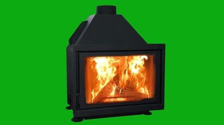 wood burner : Burning Modern Fireplace Isolated On Green Screen