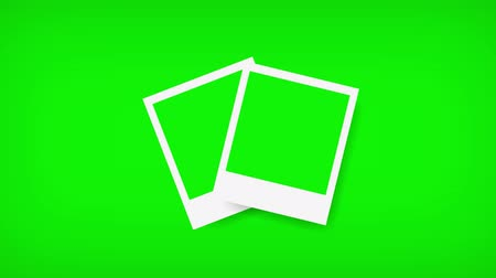 wall paper : Picture frames with green screen for your photo. 3d rendering Stock Footage