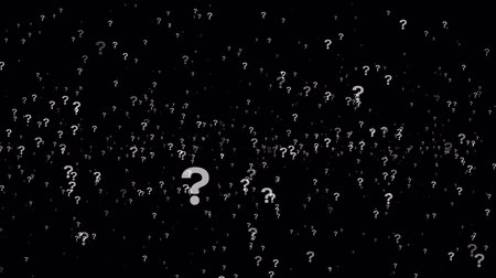 ponto de interrogação : Animation of questions floating around randomly, against a black background. 4K Stock Footage