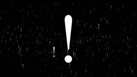 felkiáltás : Animation Exclamation Mark, floating around randomly, against a black background. 4K