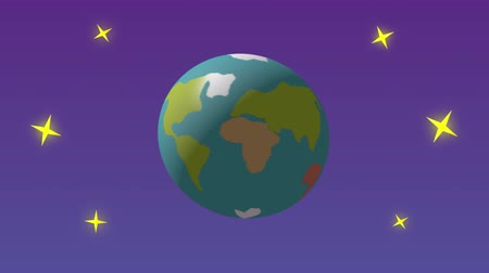 sótão : Cartoon design spinning Earth with stars in outer space. This animation is a seamless loop. Animation of planet Earth. Cartoon style, the planet revolves, rotates