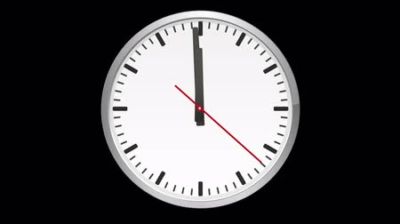 zegar : Animated analog clock, time lapse, on black background