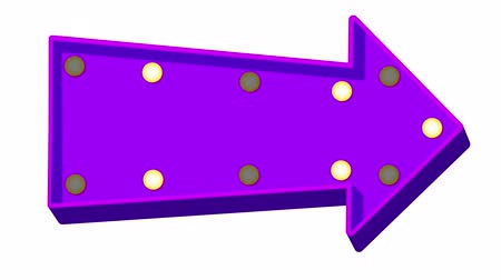 marquee : Purple cartoon arrow marquee light board sign on white background. 3d rendering Stock Footage