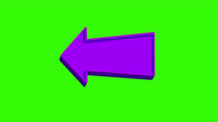 easily : Animated purple arrow pointing left on a green screen. Looped Stock Footage