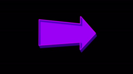верный : Animated purple arrow pointing right on a black background. Looped Стоковые видеозаписи