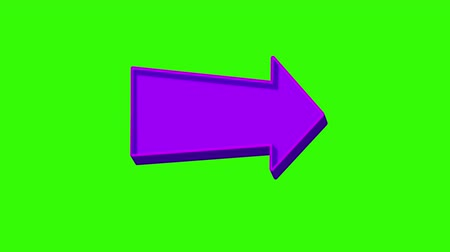 easily : Animated purple arrow pointing right on a green screen. Looped