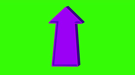 easily : Animated purple arrow pointing up on a green screen. Looped