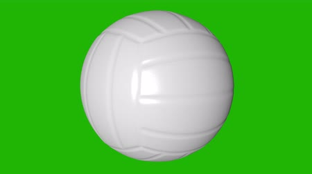залп : Spinning Volleyball Ball on the green screen. 3d animation