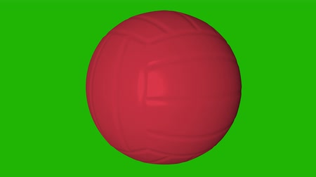 beach volleyball : Red Spinning Volleyball Ball on the green screen. 3d animation