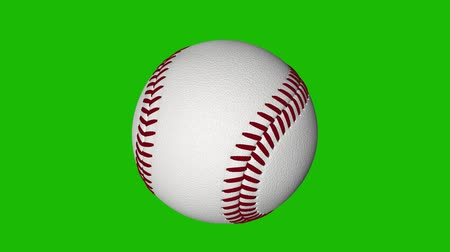 beisebol : Spinning baseball loop with chroma key green background