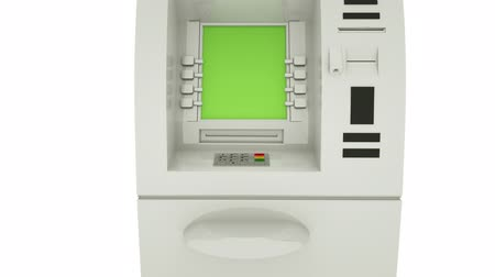 дебет : ATM Bank Cash Machine Green Screen Display. Zoom in