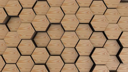 улей : Wooden hexagon geometry background. 3d render of simple primitives with six angles in front