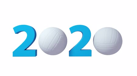 voleybol : Volleyball 2020 design background on a White Background. Alpha channel included Stok Video