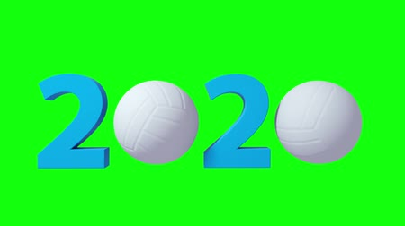voleybol : Volleyball 2020 design background on a Green Screen. 4K