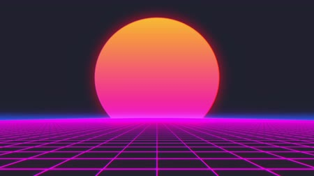 opener : Retro 80s style grid sun stars old tv screen animation background