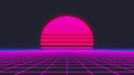 チラシ : Retro futuristic flight over grid, seamless background 80s retro fantasy