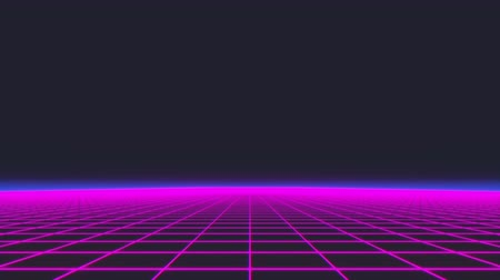 arcades : Synthwave wireframe net 80s Retro Futurism Background 3d illustration render seamless loop