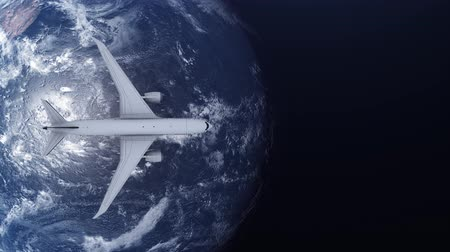 continentes : Travel concept of airplane flying around earth. View from space