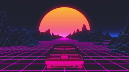 ポリゴン : Retro-futuristic 80s style sci-Fi car background. Seamless loop 3D video animation